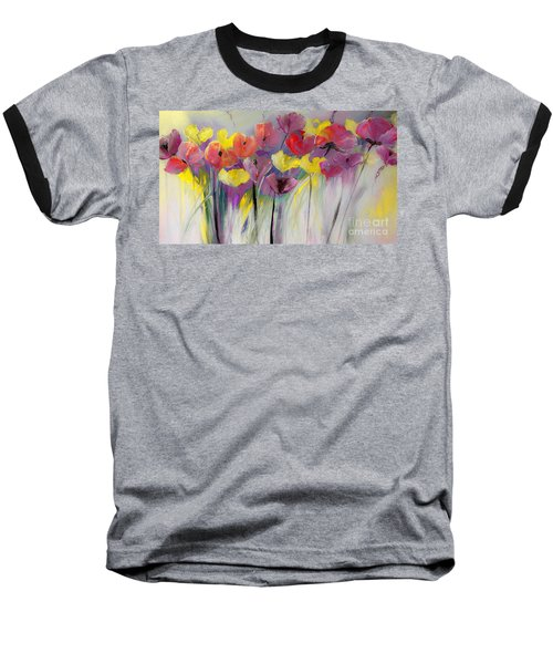 Red And Yellow Floral Field Painting Baseball T-Shirt by Lisa Kaiser