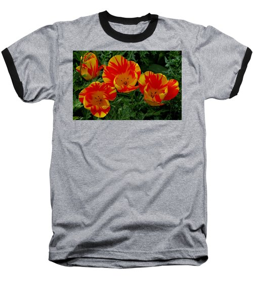 Red And Yellow Flower Baseball T-Shirt by John Topman