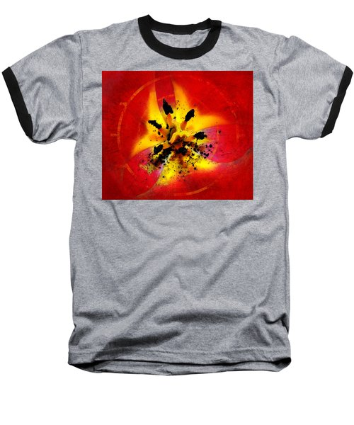 Red And Yellow Flower Baseball T-Shirt by Judi Saunders