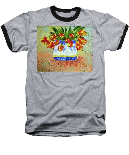 Red And Yellow Tulips Baseball T-Shirt by Lynda Cookson