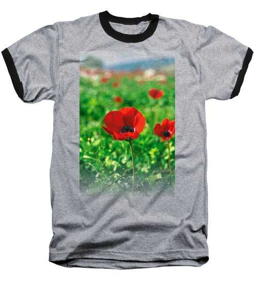 Red Anemone Coronaria T-shirt Baseball T-Shirt