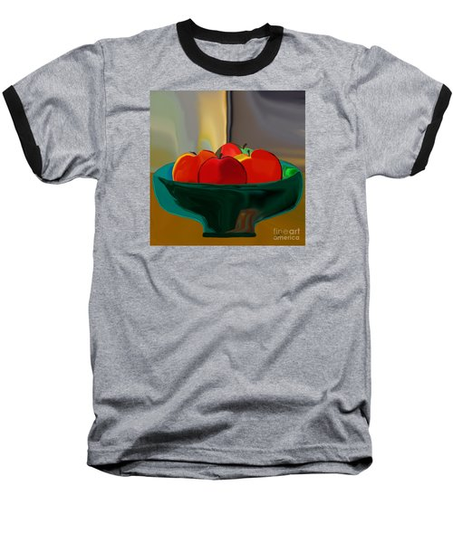Baseball T-Shirt featuring the digital art Red Apples Fruit Series by Haleh Mahbod
