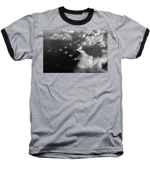 Red Arrows And Vulcan Above Clouds Black And White Baseball T-Shirt