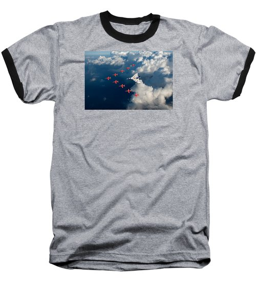 Red Arrows And Vulcan Above Clouds Baseball T-Shirt