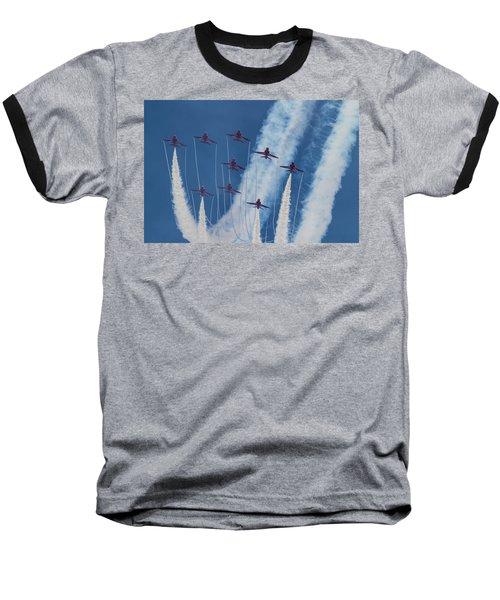 Red Arrows At Duxford Baseball T-Shirt