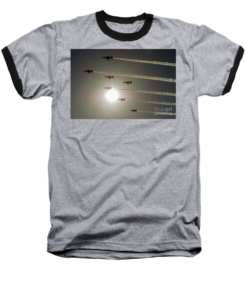 Baseball T-Shirt featuring the photograph Red Arrows Backlit Arrival  by Gary Eason