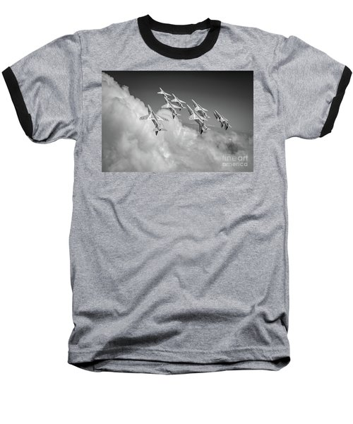 Baseball T-Shirt featuring the photograph Red Arrows Sky High Bw Version by Gary Eason