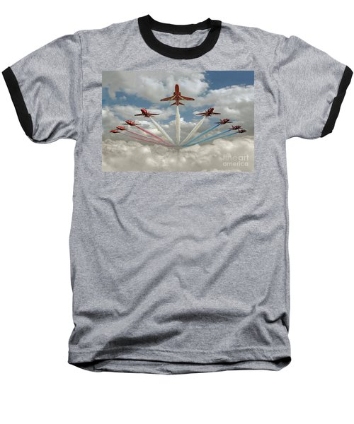 Baseball T-Shirt featuring the photograph Red Arrows Smoke On  by Gary Eason