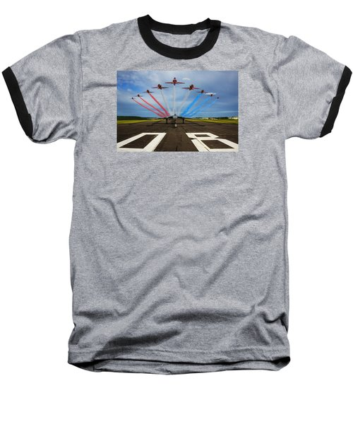 Red Arrows Tribute To Vulcan Xh558 Baseball T-Shirt by Ken Brannen