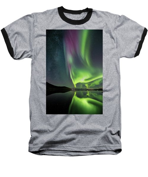 Red Auroras And A Faint Milky Way Baseball T-Shirt