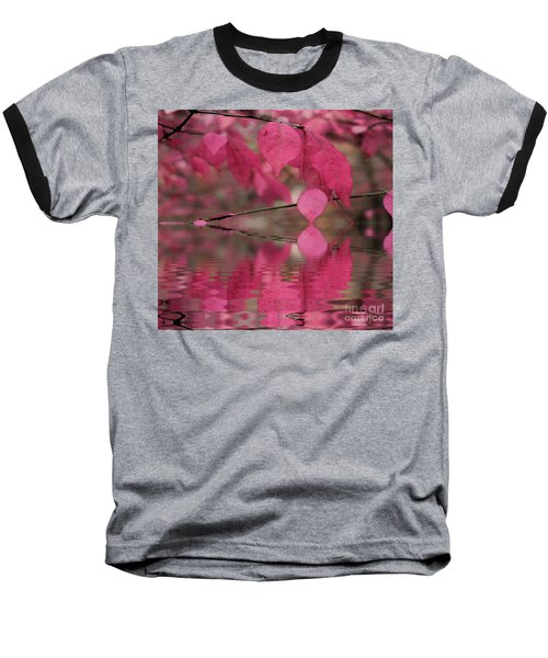 Red Autumn Leaf Reflections Baseball T-Shirt by Judy Palkimas