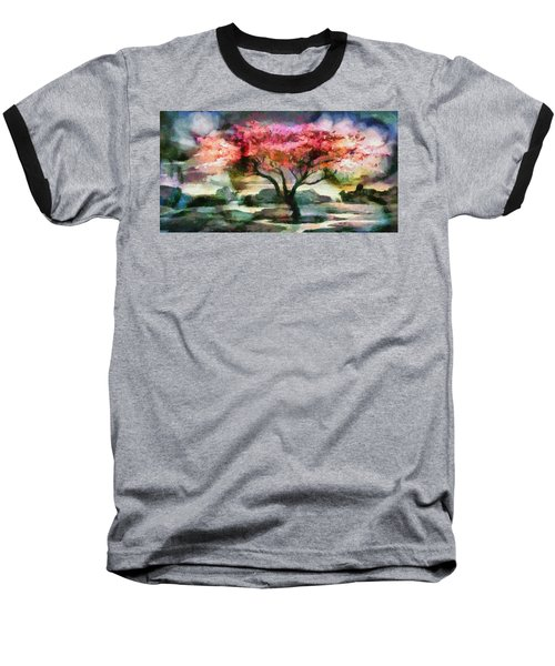 Red Autumn Tree Baseball T-Shirt
