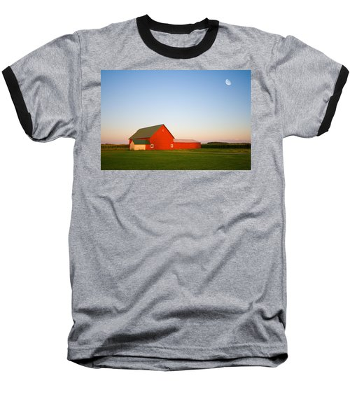 Red Barn And The Moon Baseball T-Shirt