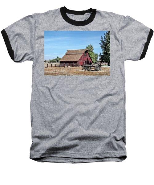 Red Barn And Wagon Baseball T-Shirt