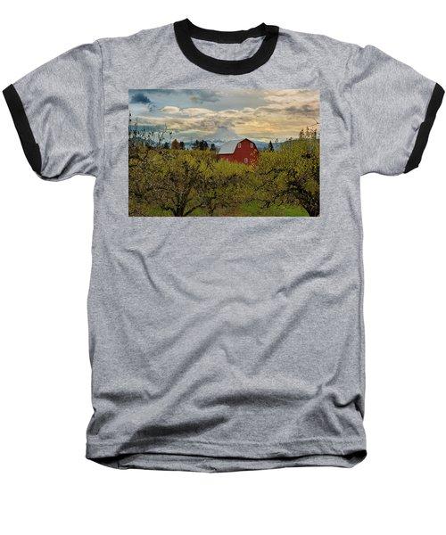 Red Barn At Pear Orchard Baseball T-Shirt