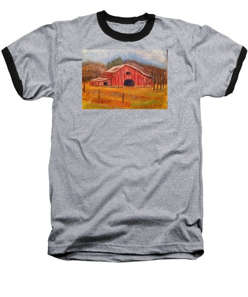 Red Barn Painting Baseball T-Shirt by Belinda Lawson