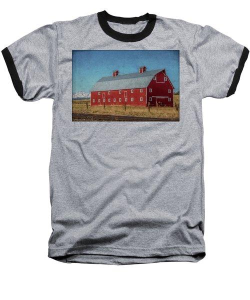 Red Barn By The Railroad Tracks Baseball T-Shirt