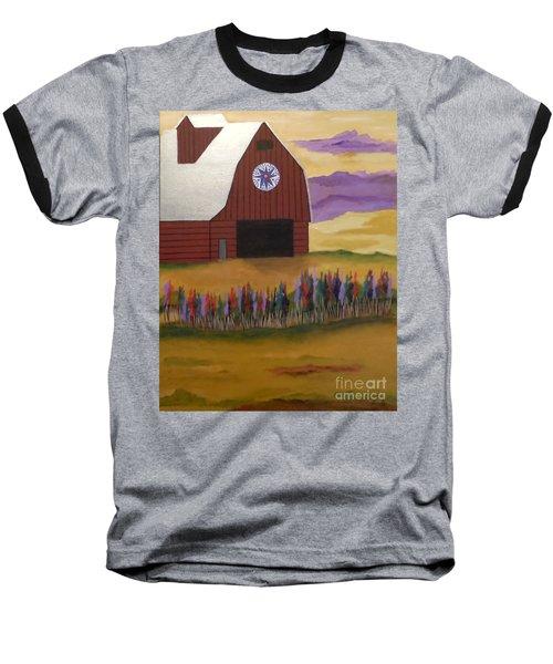 Red Barn Golden Landscape Baseball T-Shirt