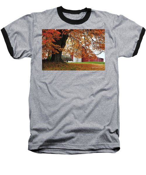 Red Barn In Autumn Baseball T-Shirt