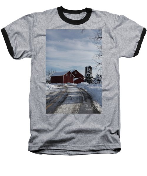 Red Barn In The Snow Baseball T-Shirt