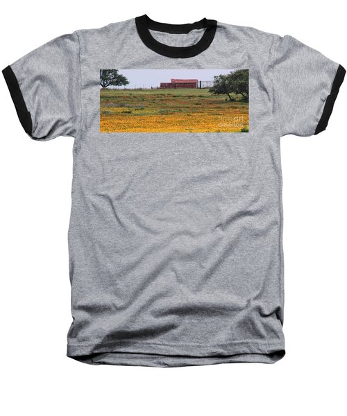 Red Barn In Wildflowers Baseball T-Shirt