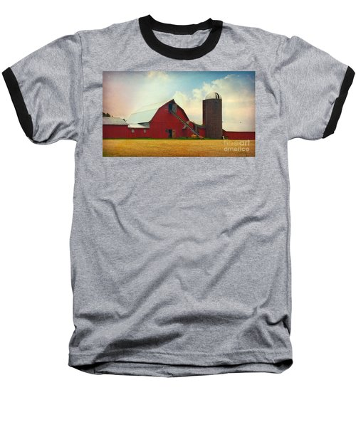 Red Barn Silo Baseball T-Shirt