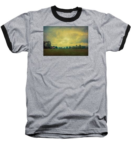 Red Barn Under Stormy Skies Baseball T-Shirt