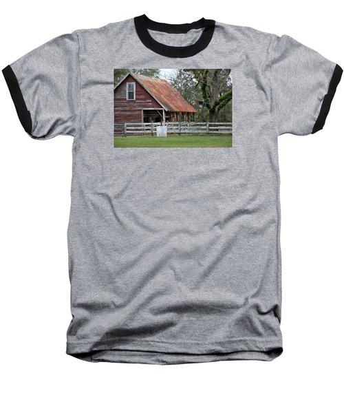 Red Barn With A Rin Roof Baseball T-Shirt by Lynn Jordan