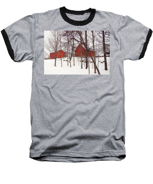 Red Barns Baseball T-Shirt by Betsy Zimmerli