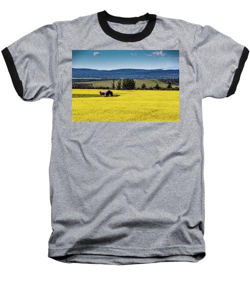 Red Barns In A Sea Of Canola Baseball T-Shirt