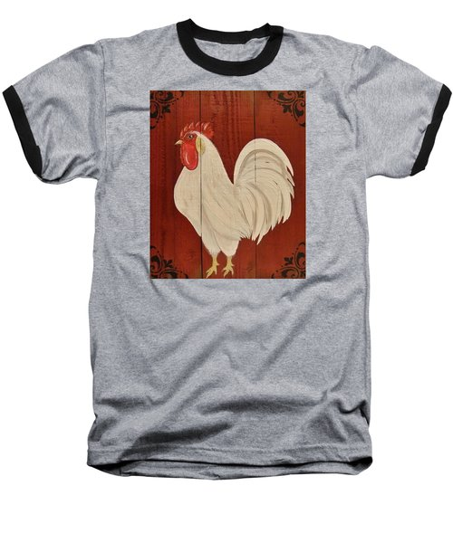 Baseball T-Shirt featuring the painting Red Barnyard Rooster by Cindy Micklos