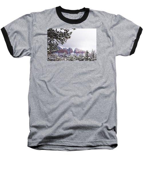 Red Beats White Baseball T-Shirt by Laura Pratt