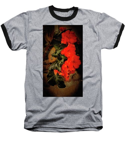 Baseball T-Shirt featuring the photograph Red Begonias by Thom Zehrfeld