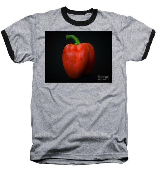 Red Bell Pepper Baseball T-Shirt by Ray Shrewsberry