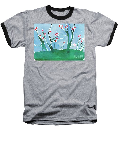 Red Berry Flowers Baseball T-Shirt