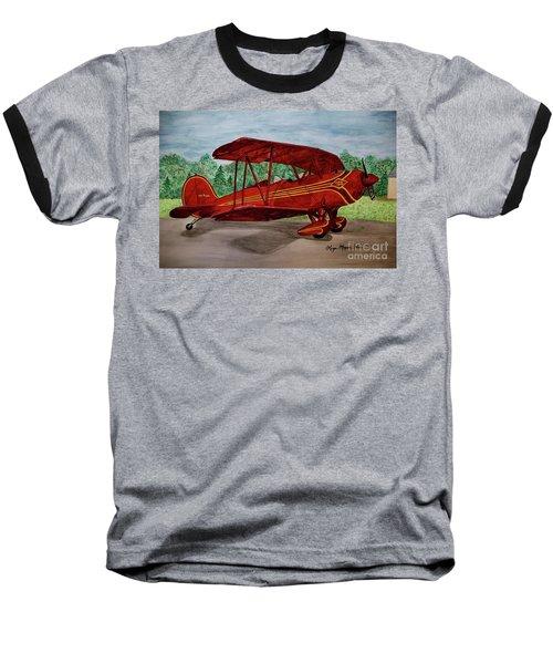 Red Biplane Baseball T-Shirt