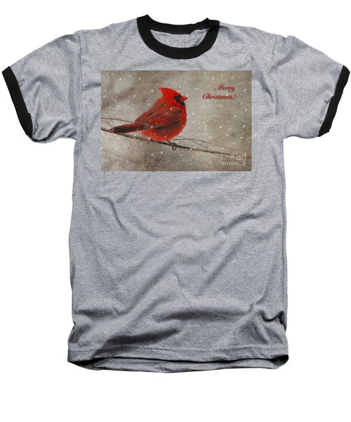 Red Bird In Snow Christmas Card Baseball T-Shirt