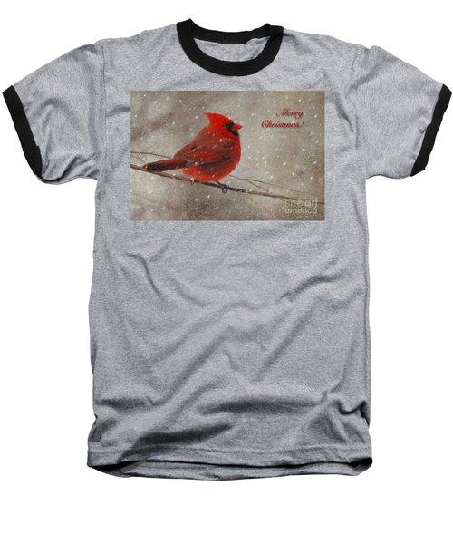 Red Bird In Snow Christmas Card Baseball T-Shirt