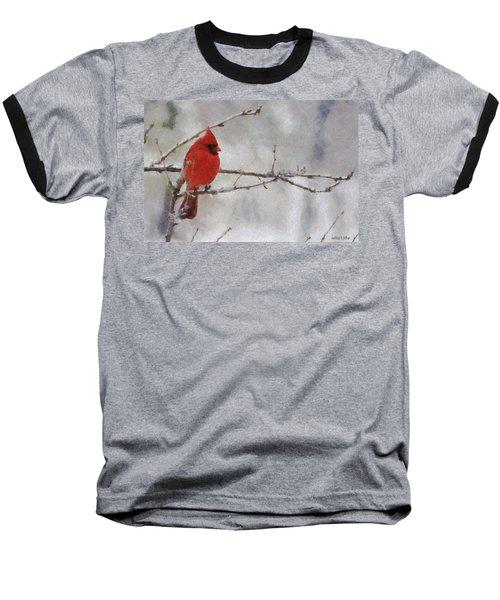 Red Bird Of Winter Baseball T-Shirt