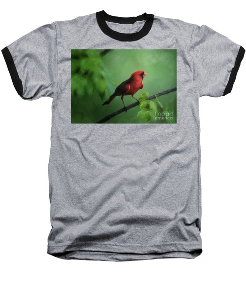 Baseball T-Shirt featuring the digital art Red Bird On A Hot Day by Lois Bryan