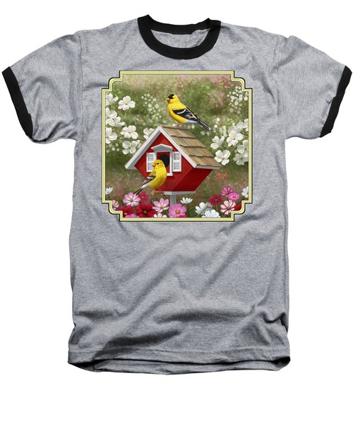 Red Birdhouse And Goldfinches Baseball T-Shirt by Crista Forest