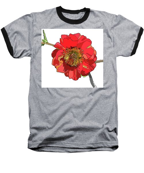 Red Blossom Baseball T-Shirt by Jamie Downs