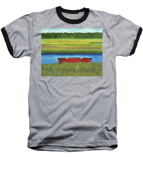 Baseball T-Shirt featuring the painting Red Boat - Assateague Channel by Arlene Crafton