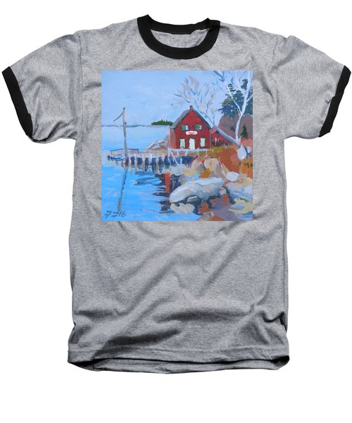 Baseball T-Shirt featuring the painting Red Boat House by Francine Frank