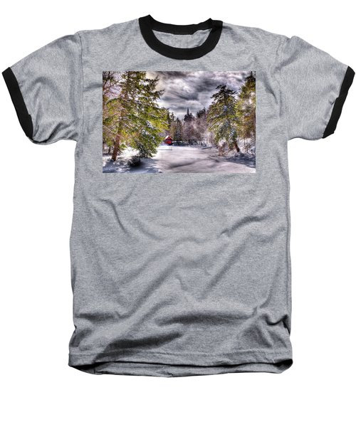 Baseball T-Shirt featuring the photograph Red Boathouse After The Storm by David Patterson