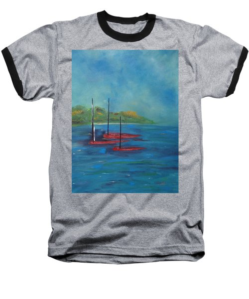 Baseball T-Shirt featuring the painting Red Boats by Judith Rhue