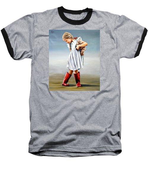 Red Boots Baseball T-Shirt by Natalia Tejera