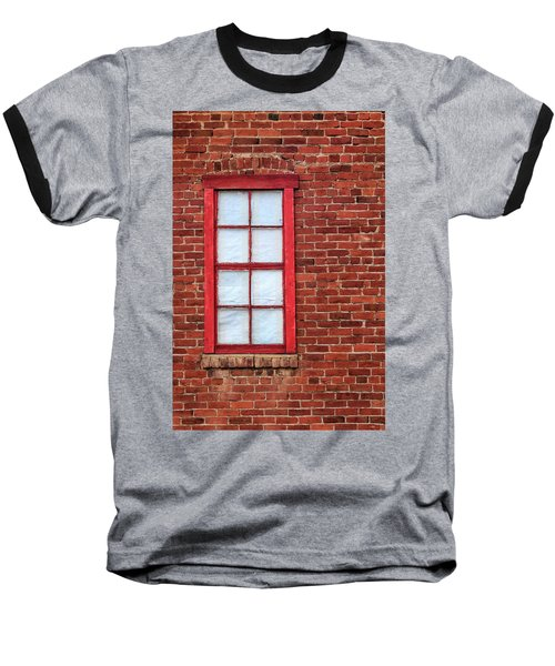 Red Brick And Window Baseball T-Shirt by James Eddy
