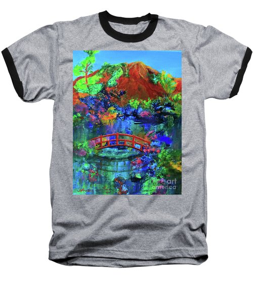Red Bridge Dreamscape Baseball T-Shirt by Jeanette French