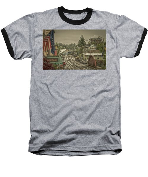Red Bridge Haze Baseball T-Shirt by Timothy Latta